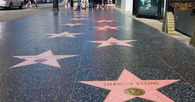 Hollywood stars on sidewalk