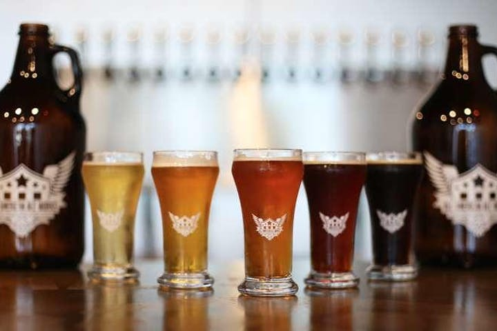 Lineup of beer pints