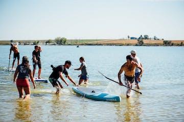 A paddleboarding race