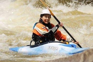 kayaking through dryway river run