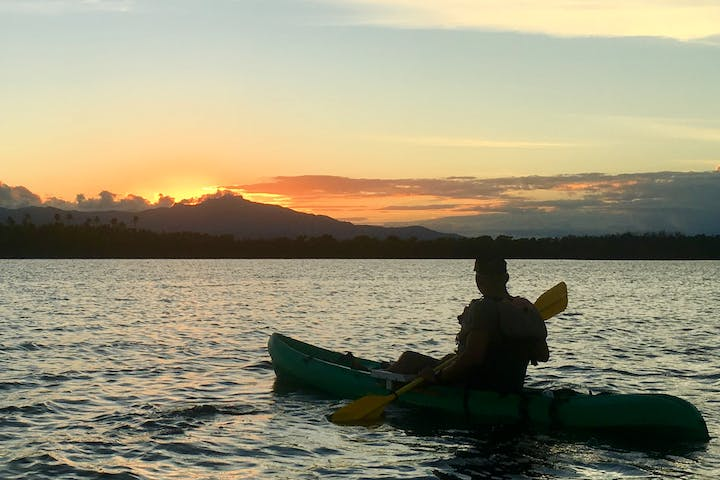 Kayaker viewing at the sunset on the Grande Laguna