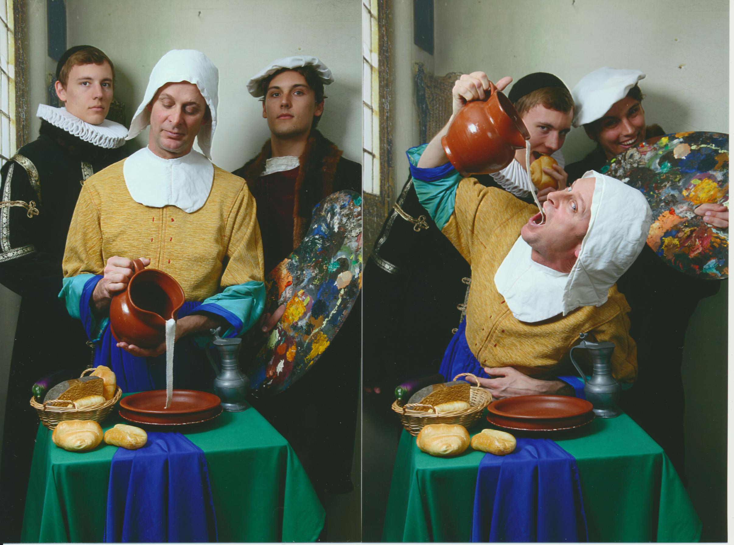 a group of people posing for a Dutch Painting photoshootthe camera