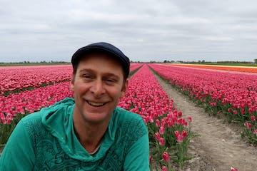 Mark in a tulip field