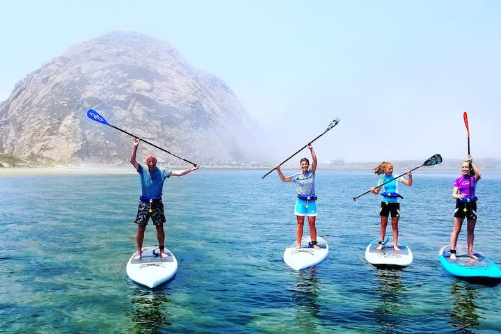 group of 4 people posing on top of paddleboards in water