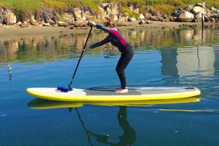 Individual on top of paddleboarding stroking