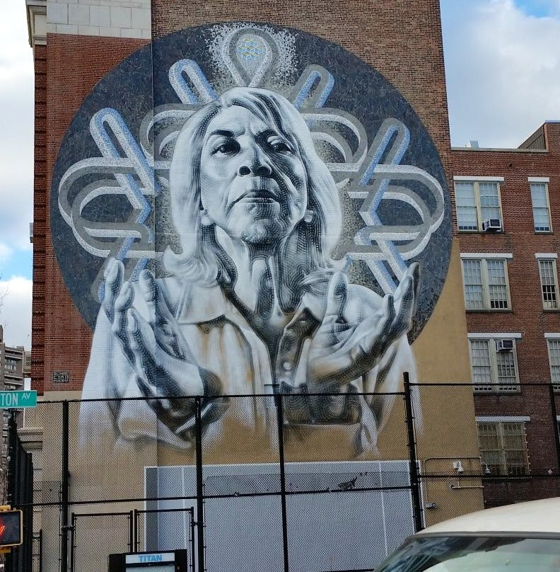El Mac and Cero paint Nicholas Mohr for the Monument Art Project in East Harlem