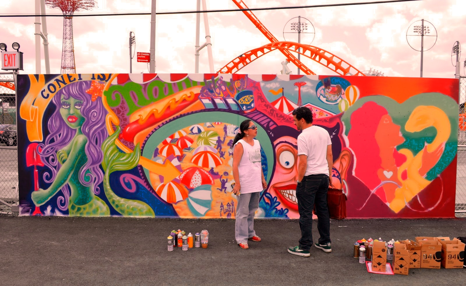 Lady Pink creates her wall for Coney Island