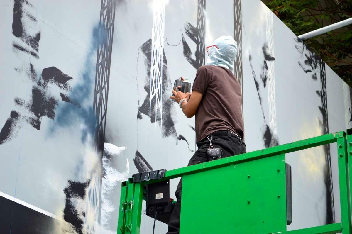 Futura Painting the Bowery Wall Detail 2