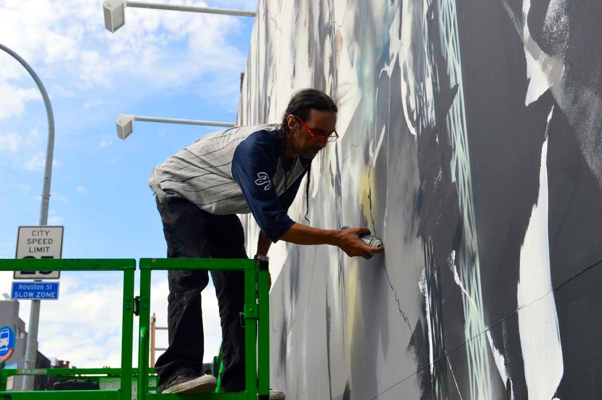 Futura painting the Bowery wall Detail 3