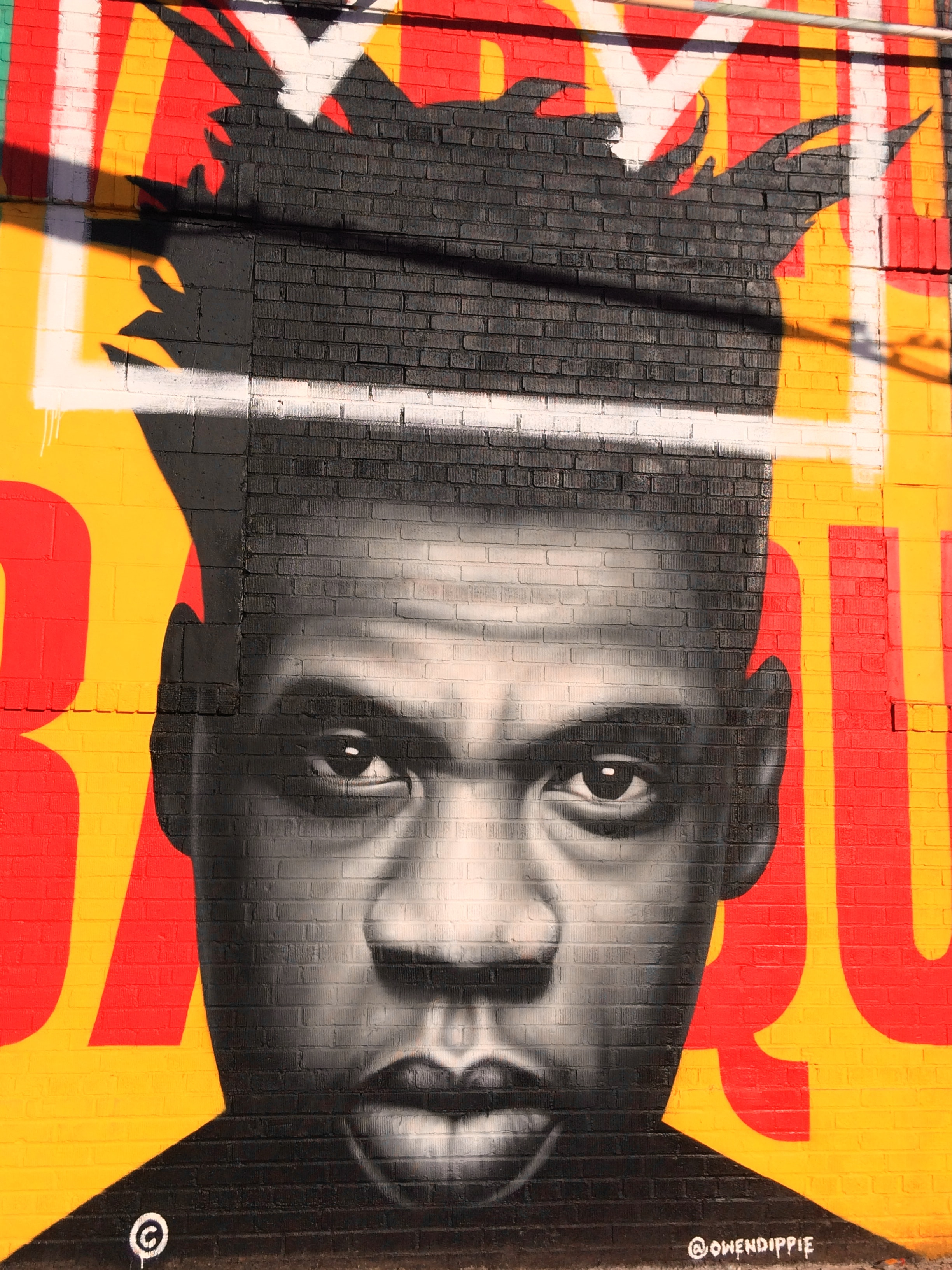 Owen Dippie;s completed Jay-z Basquiat tribute for the Bushwick Collective