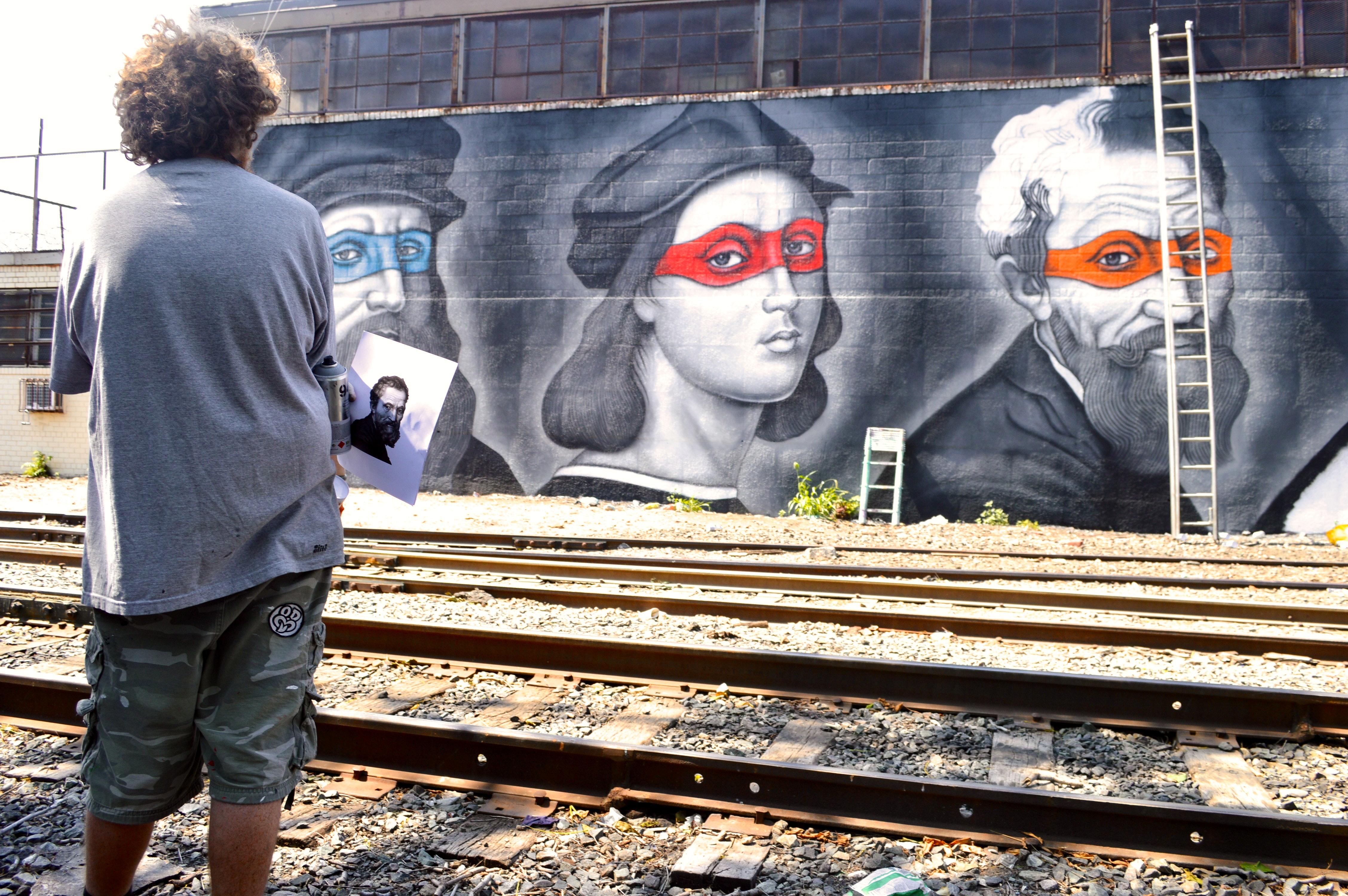 Owen Dippie with his Ninja Art Turtle Sketch