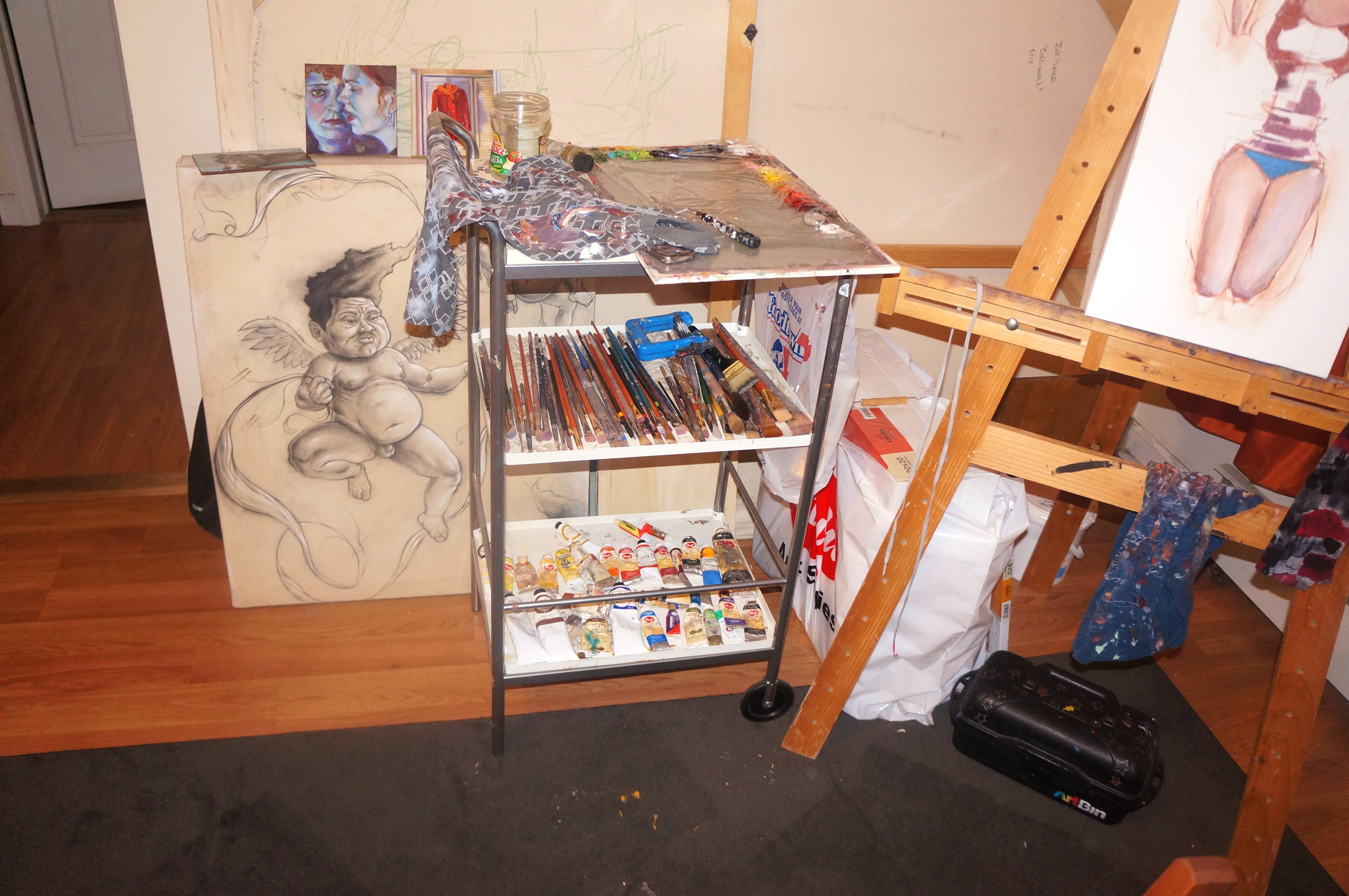 "In the Studio part III: Rob ""TMO"" Plater – Materials and Easel – The Art making process"
