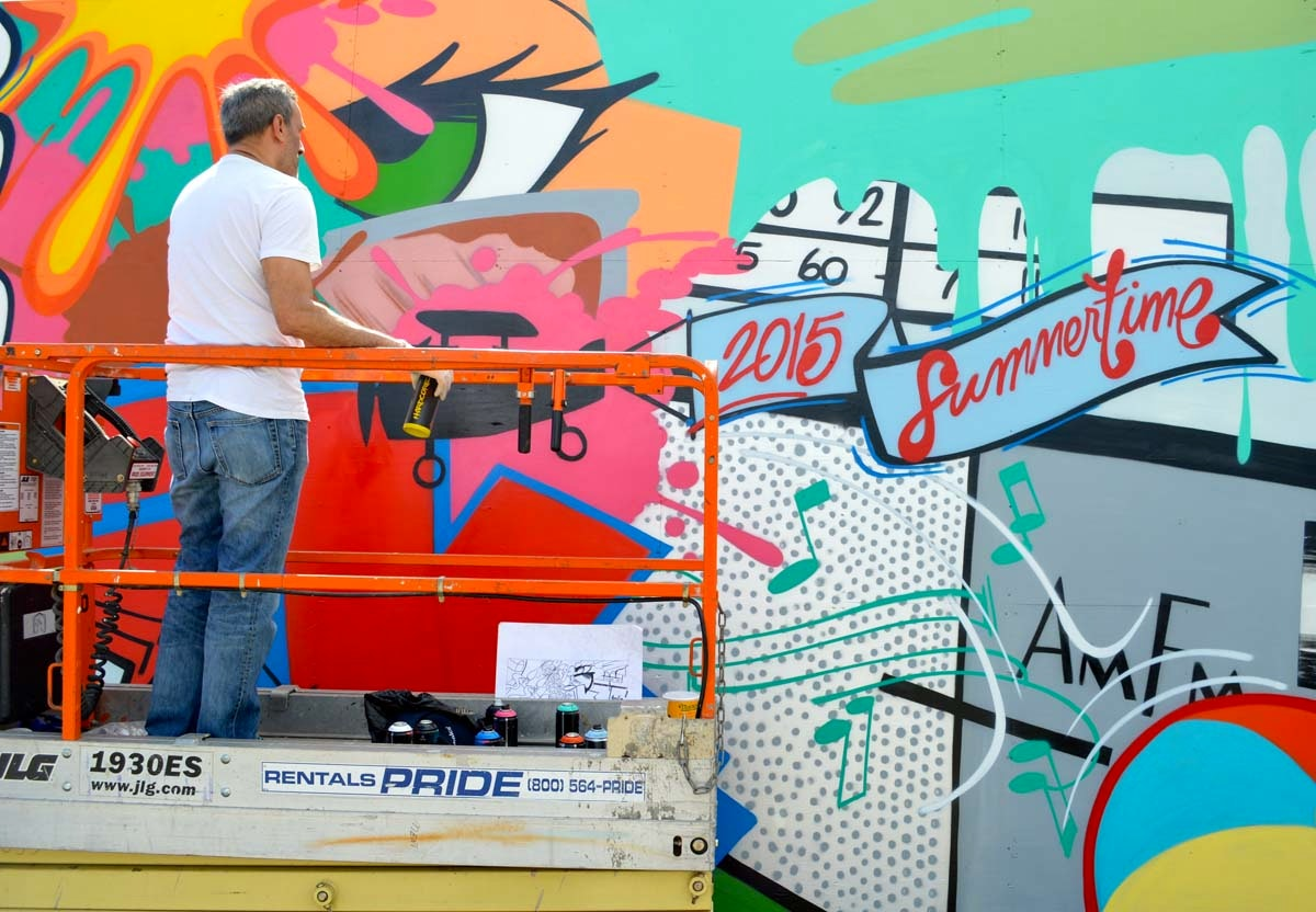 "John ""Crash"" Matos at work for Coney Island Art Walls"