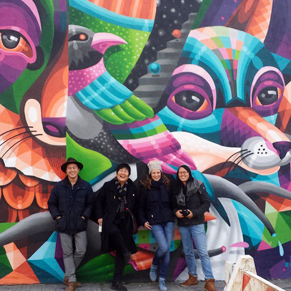 Graff Tours guests pose with a wall by Eelco 'Virus' van den Berg