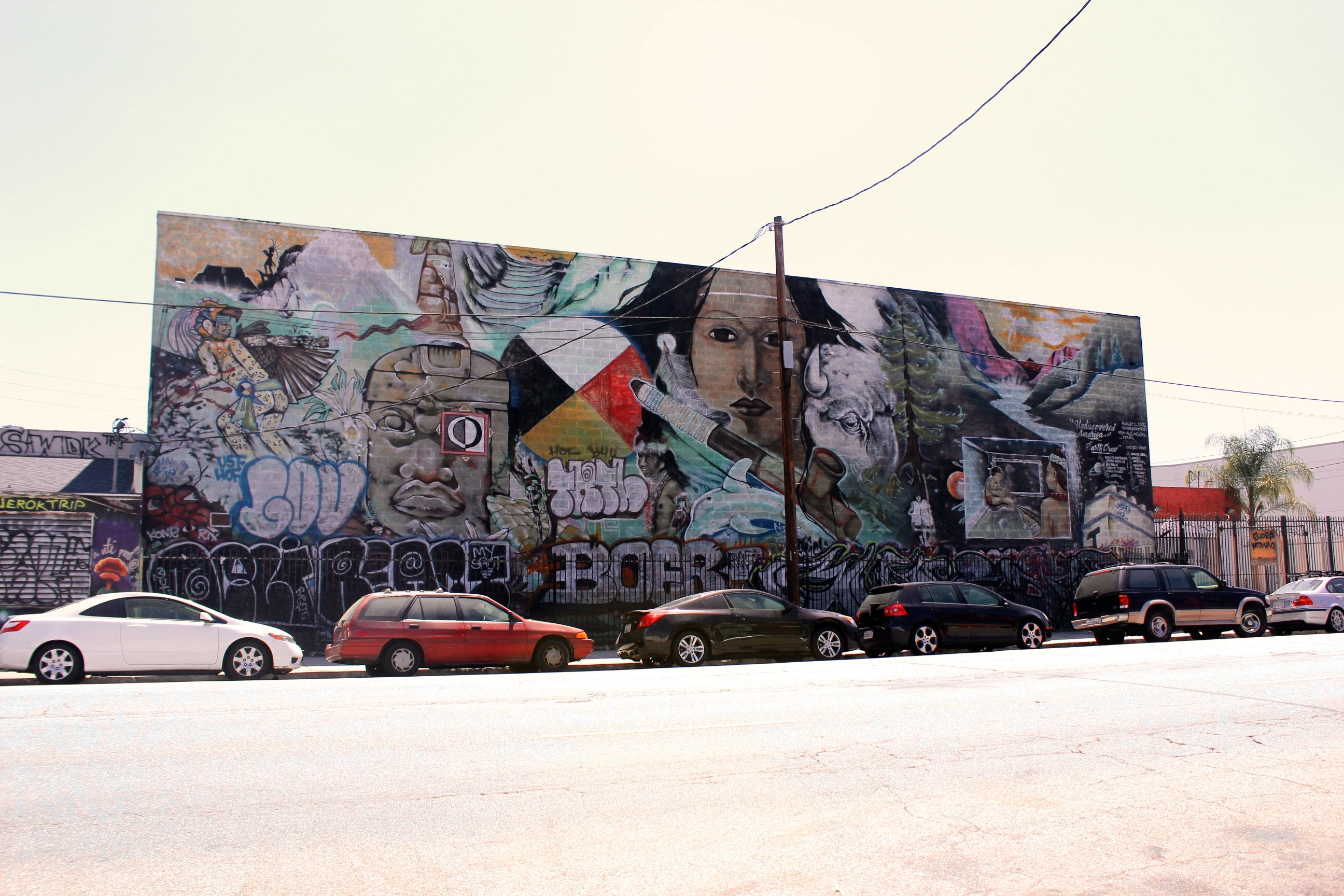 "Mural was painted by Earth Crew members- Erik ""Duke"" Montenegro, Benjamin, James Frank, Jr., Rojelio ""Angst"" Cabral, and Joseph ""Nuke"" Montalvo. Coordinated by Helen Samuels."