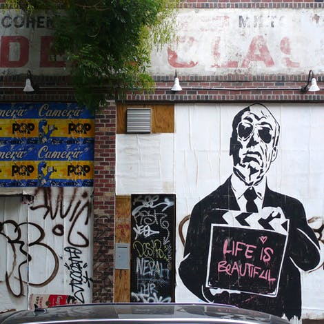 Mural by Mr. Brainwash, photo courtesy of Ideal Glass