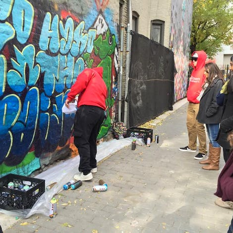 """Go Hard in the Paint"" Workshop by Damien Mitchell – Students pictured from St. John's University – Oct. 2015"