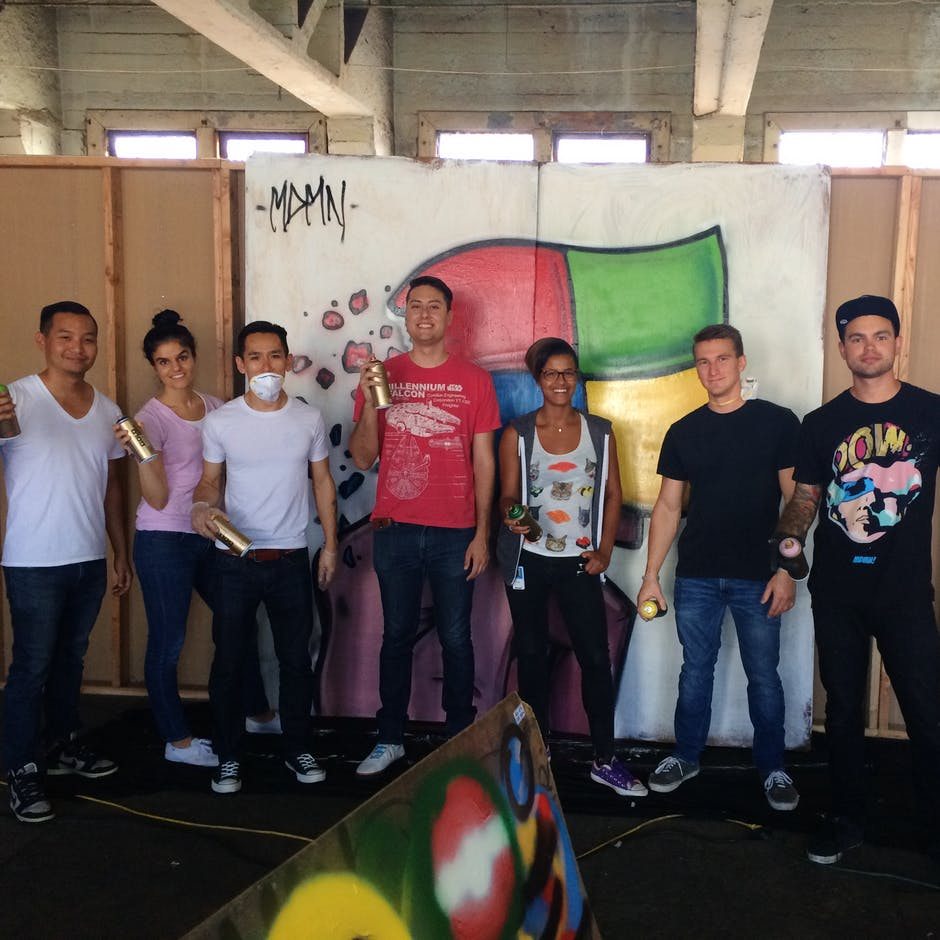 Workshop for a group of Microsoft employees in Los Angeles – Workshop led by Madman Art – April 2015