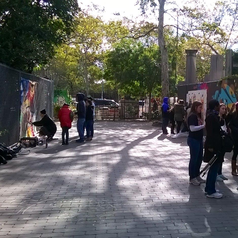 First St. Green Park, LES, 2015 – Brandon Sines, Ramiro Davaro-Comas, and Damien Mitchell teach a workshop to students – Oct. 2015