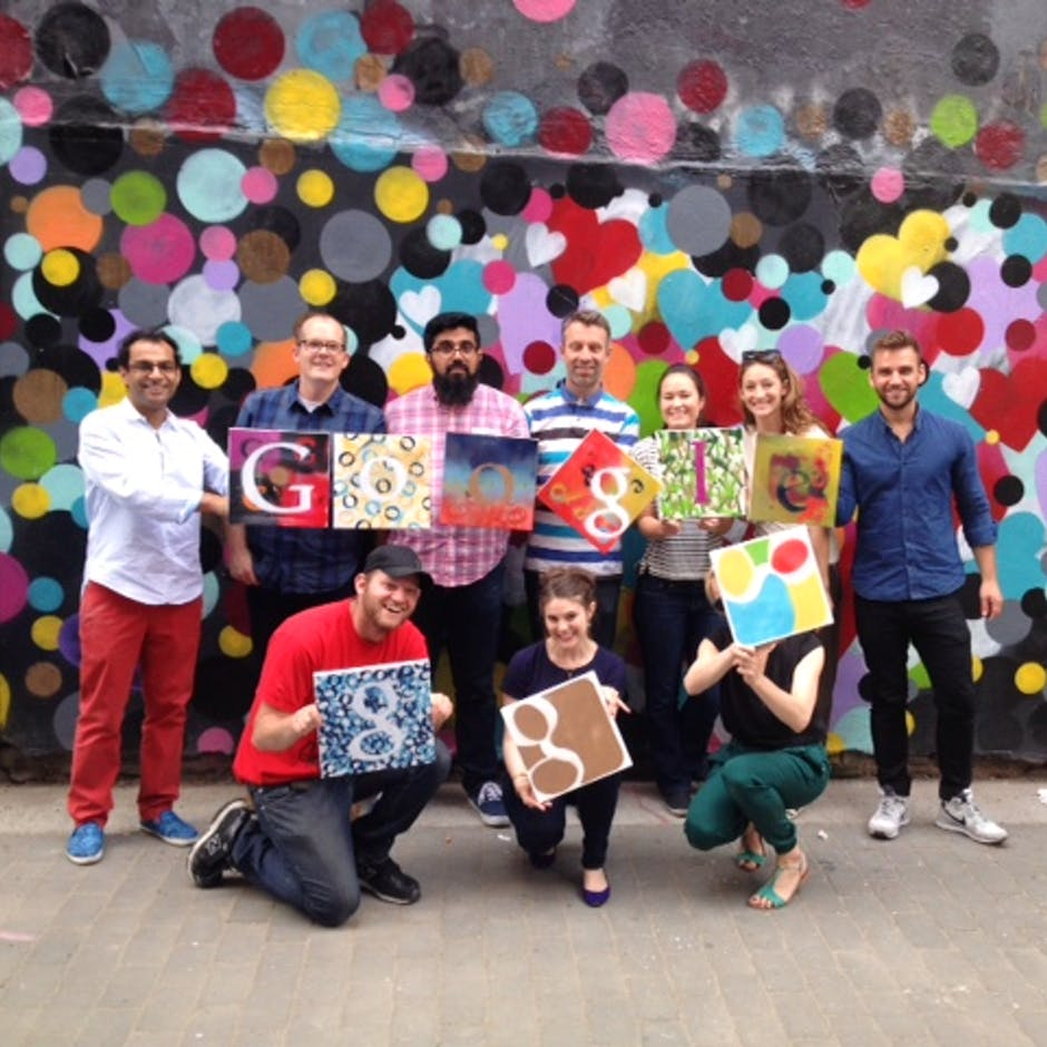 A visit from Googlers May 2015 – A team building stencil workshop for 10 members of their NYC office – Workshop led by Damien Mitchell