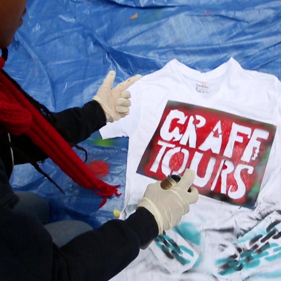 Graff Tours stencil in use – Workshop Oct. 2014 for St. John's University