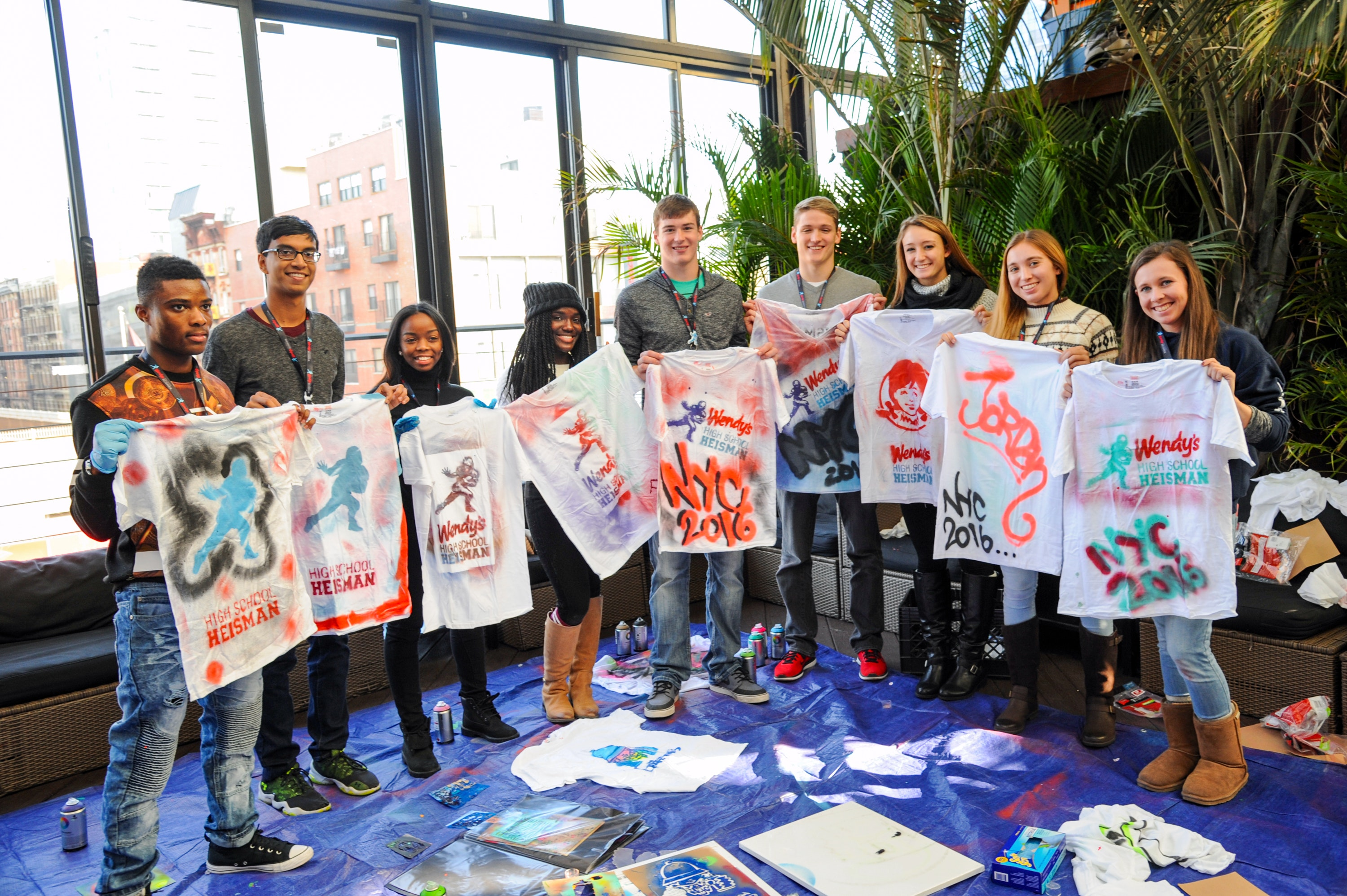 The finalists with their DIY custom T-shirts