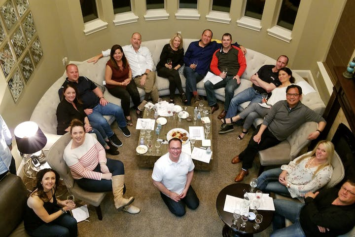 wine class in home with big group