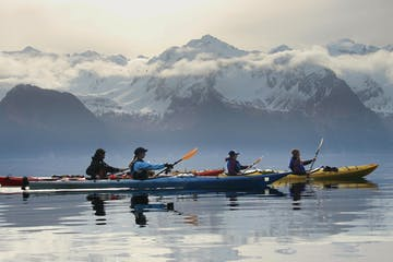 Kayakers paddling near Seward, Alaska