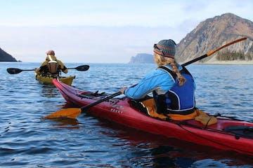 Kayakers paddling near Seward Alaska
