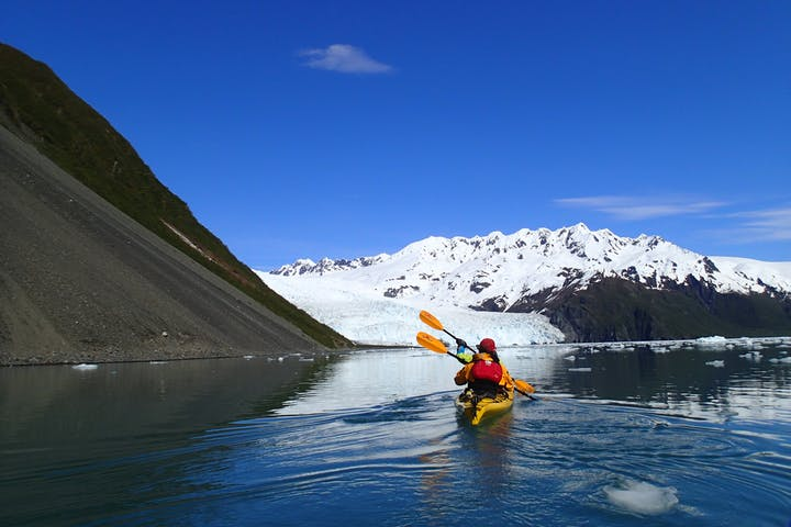 Kayaker near Aialik Glacier in Alaska