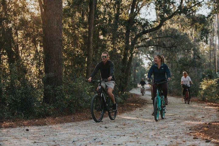 Bikers on path