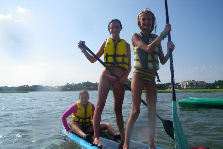 Kids on paddleboard