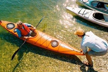 kayaker on beach
