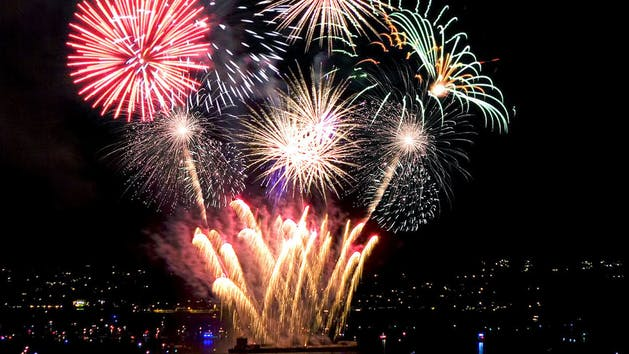 Explosion of colourful fireworks