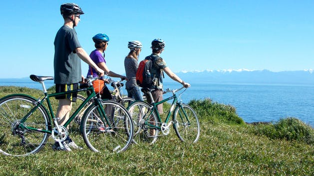 Group of bicyclists looking over water to mountains
