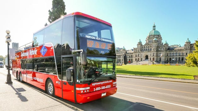 Double-decker bus tour in Victoria, British Columbia