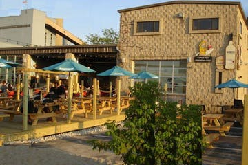 Patio and exterior of the Twisted Fisherman in Milwaukee