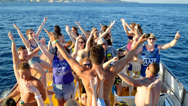 Dancing to YMCA on a party boat