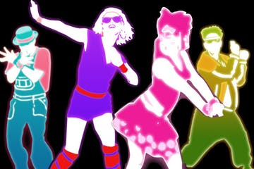 Graphic of people dancing in 80s clothing