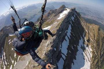 paragliding over the Swiss mountains