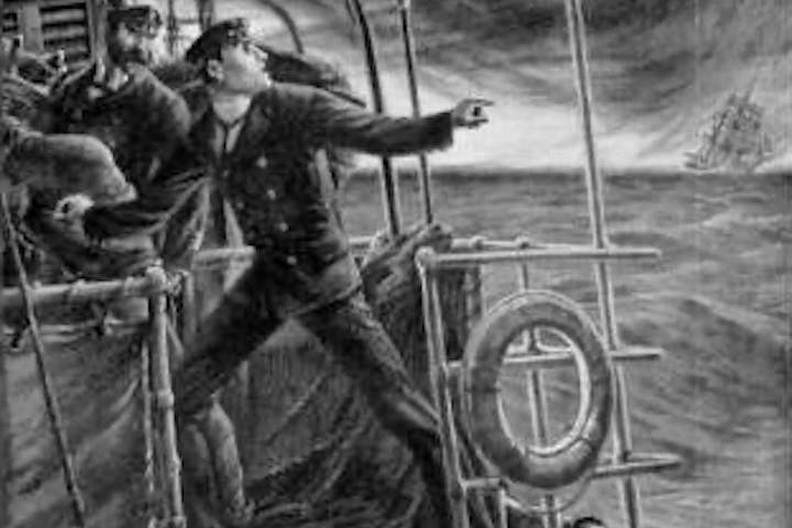 Old timey drawing of man on boat