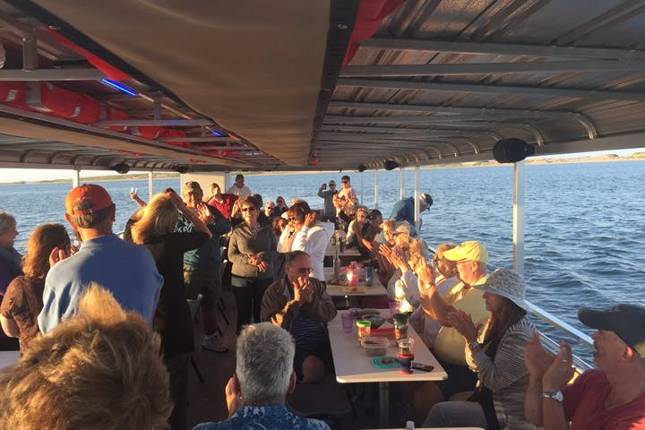 Party group on board the water taxi