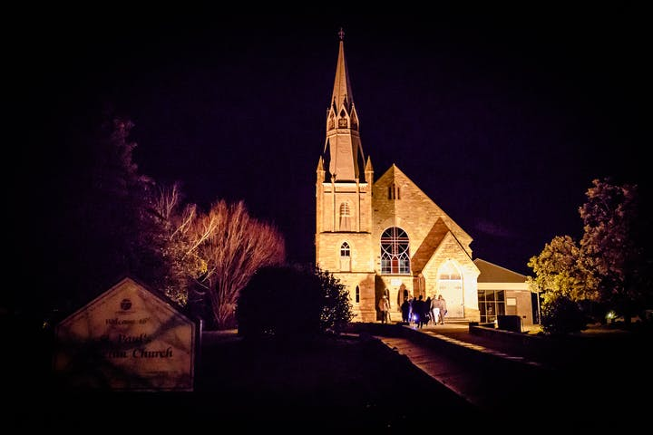 A Luthern church at night in Hahndorf