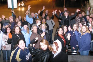 A Milwaukee Ghost Tour with people waving