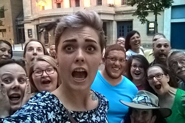 A tour group selfie of scared faces