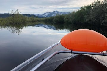 Paddle with mountains in the background