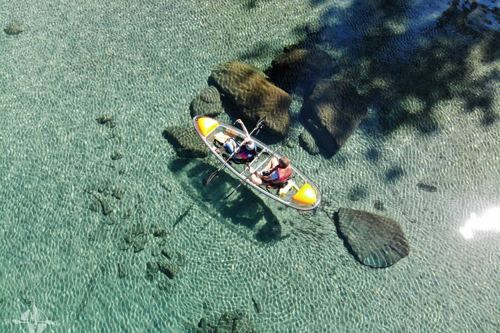 Aerial view of clear kayak