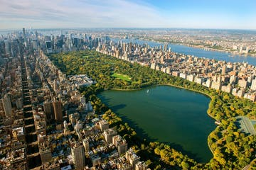 central park overhead view with water and city