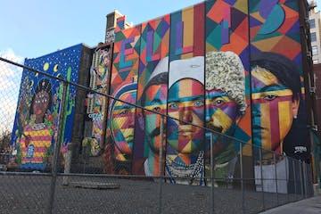 mural on side of building by artist, kobra