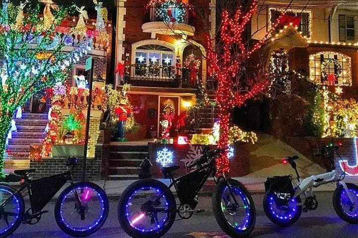 christmas lights with ebikes at night